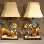 Chinese Terracotta Temple Lion Lamps