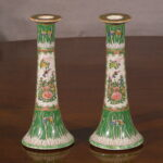 Chinese Cabbage Leaf Candlesticks, Ca. 1880