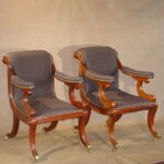 Pair of English Regency Arm Chairs, Ca. 1820